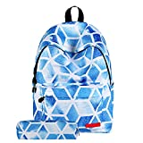 Girls Starry Sky Zipper Backpacks School Bags With Pencil Case (D)