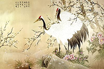 Two Red-crowned Cranes in Wintersweet in Full Bloosm Oil Reprodution Based on Traditional Chinese Realistic Painting. (Unframed and Unstretched).