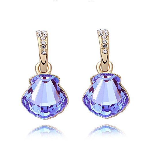(St.Ushine Cute Seashell Silver Plated Crystal Stud Dangle Earring for Women Girls Birthday Festival Gift (Earrings- Purple))