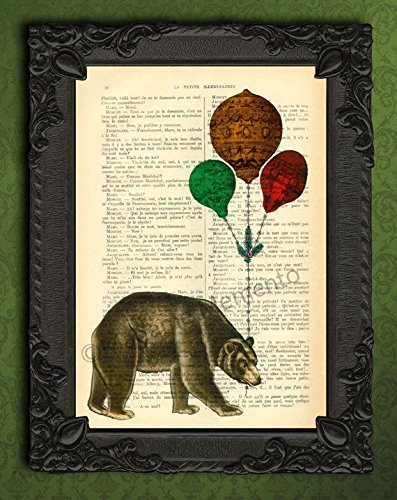 Big brown bear with balloons wall art print, wild woodland animal artwork on dictionary paper poster