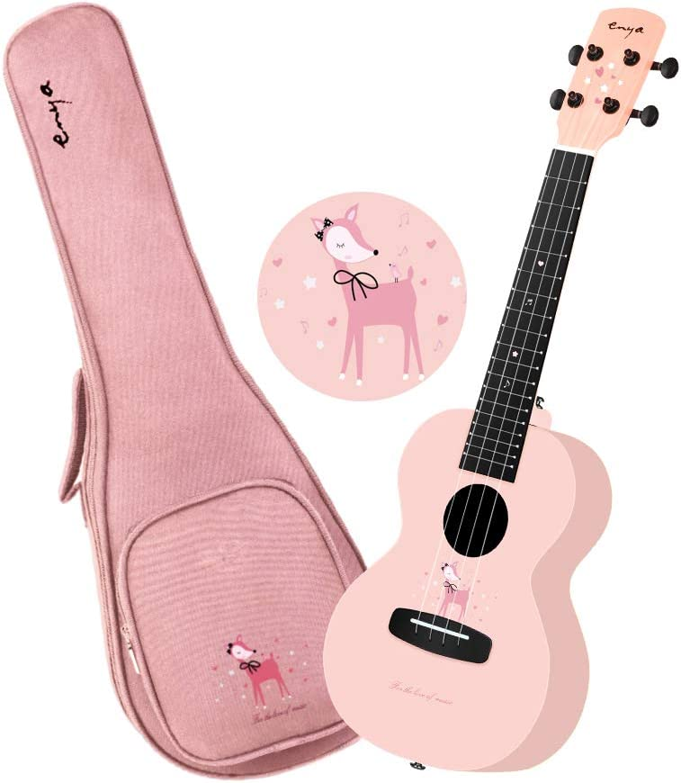 Enya Concert Ukulele EUC-FG1 Pink Color 23inch Ukulele Beginner Kit Lovely Deer Decoration Design with 15mm Padded Pink Ukulele Gig Bag