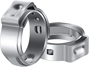 LOKMAN 50 Pack 1/2 Inch PEX Cinch Clamps, Stainless Steel Cinch Crimp Rings Pinch Clamps for PEX Tubing Pipe Fitting Connections (1/2 Inch)