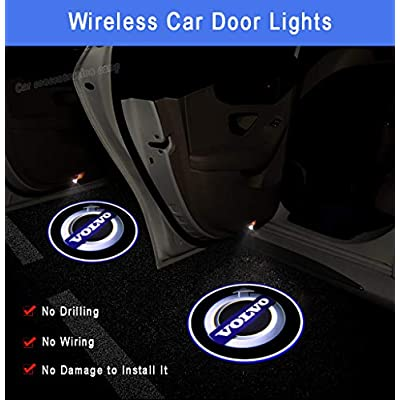 Volvo 2Pcs Car Door Welcome Light Wireless LED Ghost Shadow Projector Logo Light Car Door Courtesy Light Lamp Suitable For Volvo All Models (for volvo): Automotive