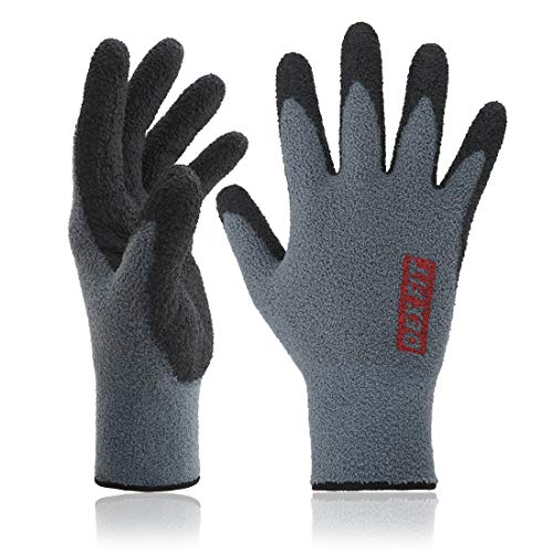 DEX FIT Warm Fleece Work Gloves NR450, Comfort Spandex Stretch Fit, Power Grip, Thin & Lightweight, Durable Nitrile Coated, Machine Washable, Grey Medium 3 Pairs Pack by DEX FIT
