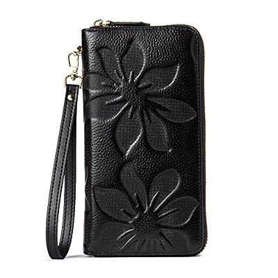 BOSTANTEN Women's Leather Wallets Kapok Pattern Zipper Handbags with Wristlet