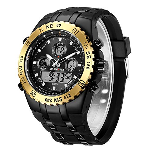 - GOLDEN HOUR Huge Heavy Military Sports Watches for Men, 3ATM Waterproof, Stopwatch, Date and Date, Alarm, Luminous Digital Analog Wrist Watch with Rubber Band in Gold Black
