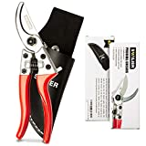 SWILIER Bypass Pruning Shears - Professional Hand Trimmers Secateur Safety Lock, Holster Included, SK5 Steel Blade, Garden Clippers