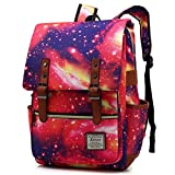 Kenox Vintage Laptop Backpack College Backpack School Bag Fits 15-inch Laptop (Redsky)