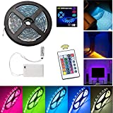 Led Strip Lights Battery Powered 16 Colors 1M Flexible LED Lights Strip with Battery Power Supply Box and 24 Keys RF Remote Controller