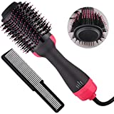 BellaElegance Quality for Price One Step Hot Air Brush & Volumizer Negative Ion Generator Hair Dryer Brush Hair Straightener Curler for All Hairstyle(1000W 110V) (Red)