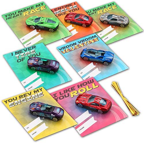 28 Valentines Day Gifts Cards with Die-Cast Racing Cars Vehicle for Kids Valentine's School Classroom Exchange Party Favor Gift Supplies