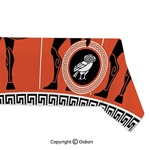 oobon Space Decorations Tablecloth, Artistic Historical Warrior Figures in Ancient Greece Military Theme, Rectangular Table Cover for Dining Room Kitchen, W60xL84 inch]()