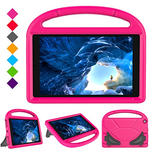Case for H D 10 Tablet (5th Gen, 2015 Release / 7th Gen, 2017 Release),Kids Friendly Shock Proof Light Weight Convertible Handle Stand Case Cover for H D 10.1 Inch Tablet (Pink)