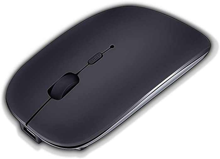 Bluetooth Wireless Mouse,SUNGI Rechargeable Mouse for iPad 13.1.2/MacBook/iPhone/Tablet/Laptop/Notebook,Slim Silent Mice Compatible with iOS/Windows/Linux/Andriod,Black