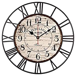 EnjoyHome French Countryside Cafe De La Gare Parris Large Iron Metal Wall Clock Indoor Silent Battery Operated Metal Clock for Home Decor 16 Inches