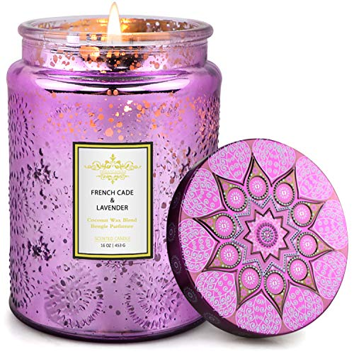 TOFU Scented Candles, 16 Oz Luxury Coconut Wax Candle with Fresh Scent of French Cade and Lavender, 150 Hours Burn, Long Lasting and Highly Scented Natural Aromatherapy Candle with Embossed Glass Jar