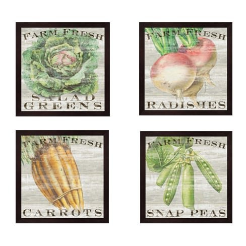 Metaverse Sue Schlabach 'Farm Fresh Vegetables' Framed Art Pieces (Set of (Metaverse Framed Art)