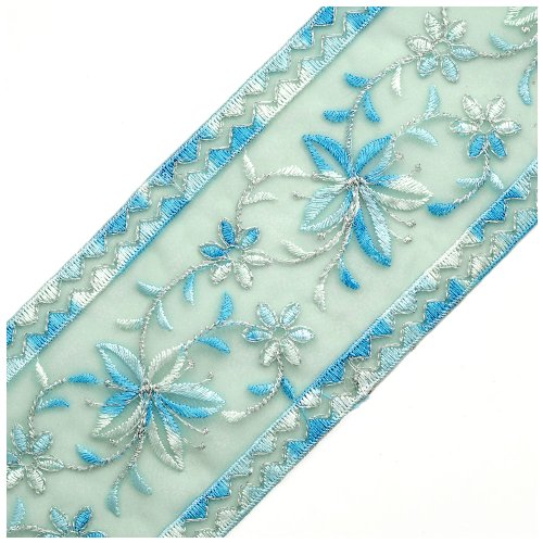 Embroidered Blue Organza Ribbon Trim with Metallic Thread, 3-1/4 Inch by 1 Yard, Blue/Silver ROI-8303