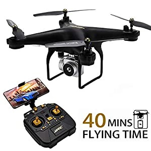JJRC H68 RC Quadcopter Drone with Camera, 40Mins Flight Time WiFi FPV Live Video Drone, 720P HD Anti-Shake Table 45° Adjustable Angle Camera with Headless Mode for Adults Beginners