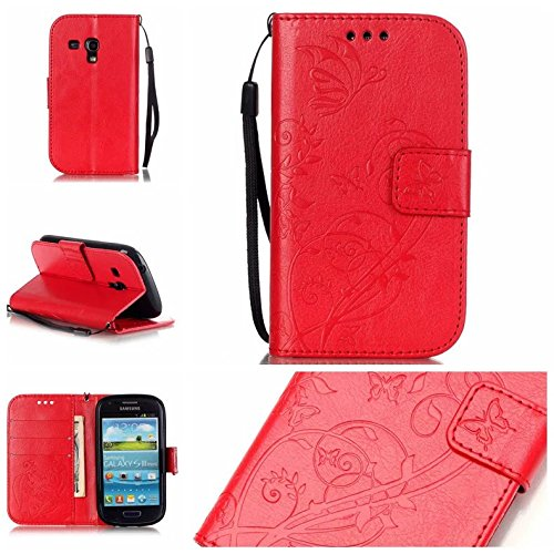 JIALUN-Personality teléfono shell Funda Samsung 8190, caja de cuero de la PU Premium Funda Folio Flip Funda de cuero en relieve para Samsung 8190 Seguridad y Moda ( Color : Brown , Size : Samsung 8190 Red