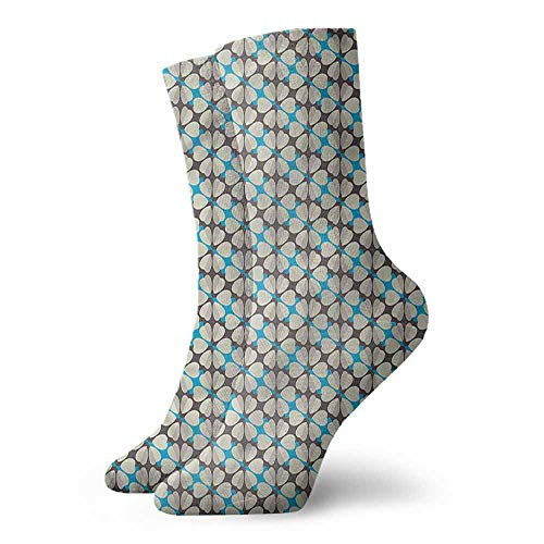Men Multicolored Pattern Floral Daisies and Diamonds Light Cushion Athletic Socks