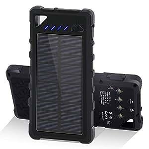 Power Bank 16000mAh GRDE Capacity Bateria Externa Impermeable IP67 Solar Cargador de Emergencia Outdoor con Linterna LED Para iphone Andriod ipad y Otros Dispositivos