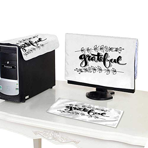 "Price comparison product image Dust CoverGrateful Hand Lettering Modern Calligraphy 24"" Monitor"