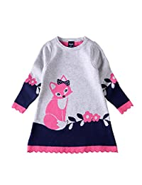 Inmusion Girls Knitted Sweater Material Fox Causal Dress
