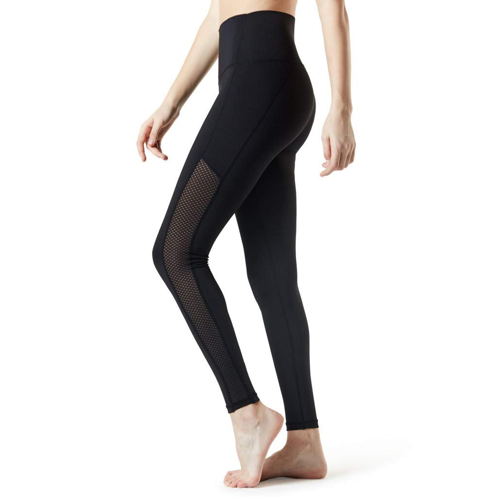 HHei_K Women Pure Color High Waist Mesh Yoga Pants Trousers ...