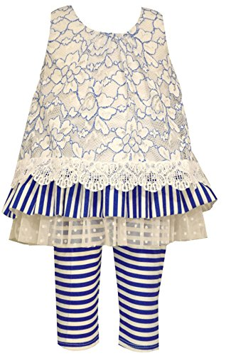 - Bonnie Baby Girls Blue Floral Lace Striped Legging Set (3-6 Months)