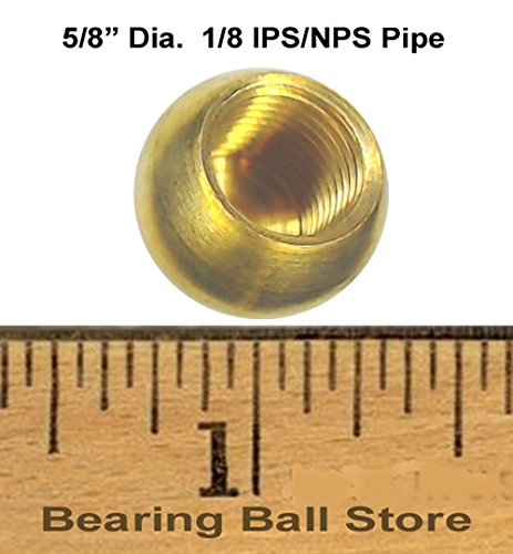 81 5/8'' dia. threaded 1/8 - IPS brass balls drilled tapped lamp finials by Bearing Ball Store