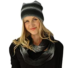 Ladies 2pc Winter Ombre Knit Long Slouch Beanie Hat Infinity Scarf Ski Set