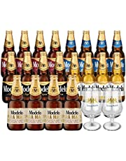 Pack de Cerveza Modelo Mix: 4 Especial + 4 Negra + 4 Trigo + 4 Ámbar + 4 Pura Malta + 2 Copas de Vidrio