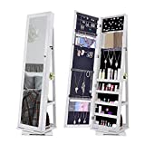 NEX D017 Rotatable Jewelry Cabinet with Full-Length Mirror White