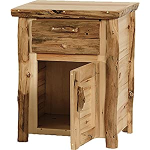 Mountain Woods Furniture Rustic Arts Collection 1 Drawer 1 Door Nightstand, Beeswax/Linseed Oil Finish