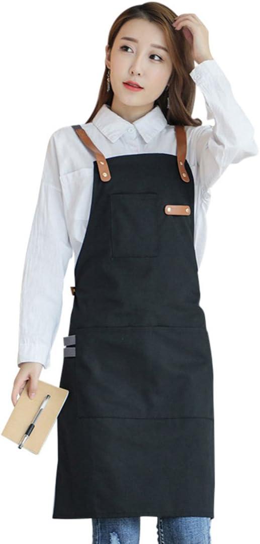Pinji Delantal de Lona para Cocina, Delantal Ajustable con Bolsillos para Mujeres Hombres Diseño de la Cruz Trasera para Hornear, Restaurante, Jardinería, Barbacoa Negro