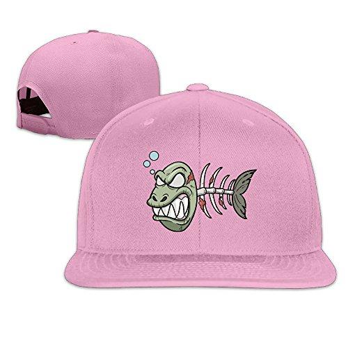 Basee Angry Bloody Fish Bone Adjustable Flat Along Baseball Cap Pink