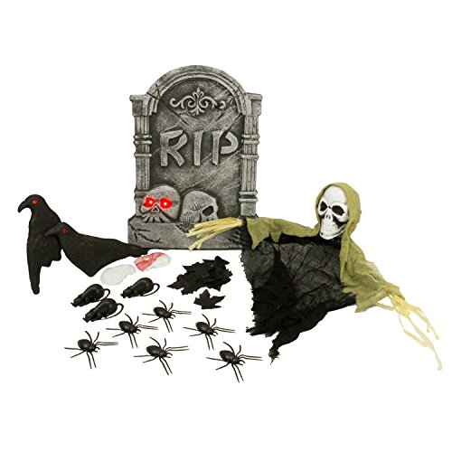 Halloween Graveyard Props (Halloween Haunters 25 Piece Scary Graveyard Tombstone & Reaper Prop Decoration Kit Set - Spooky Cemetery RIP Grave Marker with Light-Up Eyes - Rats, Spiders, Crows)