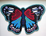Cartoon Black Butterfly Area Rug Black and Blue Animal Design Doormat Hallway Anti Skid Mat (25.5''x25.5'', Black)