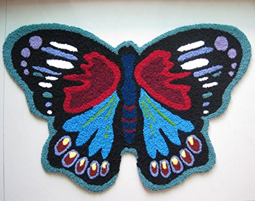 Cartoon Black Butterfly Area Rug Black and Blue Animal Design Doormat Hallway Anti Skid Mat (25.5''x25.5'', Black) by Wolala Home