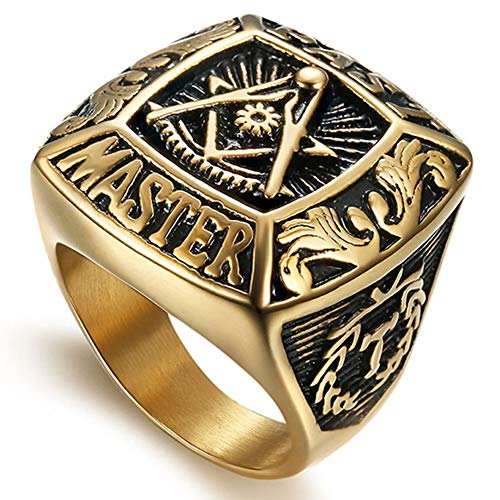AmyJewelry Men's Stainless Steel Past Master Masonic Ring AG Symbol Religious Rings,Size - Master Steel Past