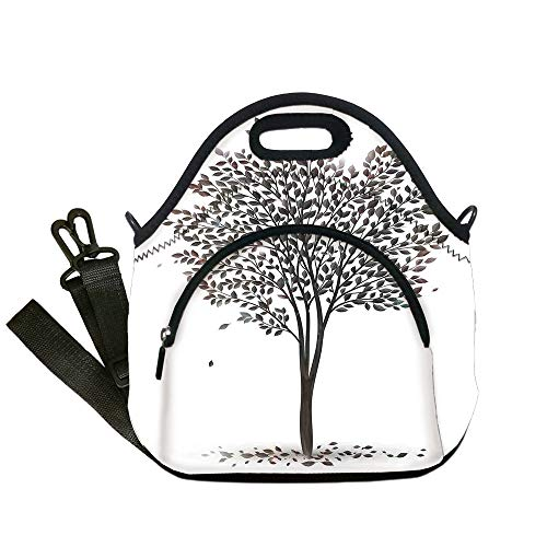 Insulated Lunch Bag,Neoprene Lunch Tote Bags,Tree of Life,Plant in the Fall Season Illustration with Falling Leaves Seasonal Art Print,Brown White,for Adults and children