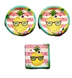 Aloha Pineapple N Friends Party Bundle 9'' Plates (16) Napkins (16)