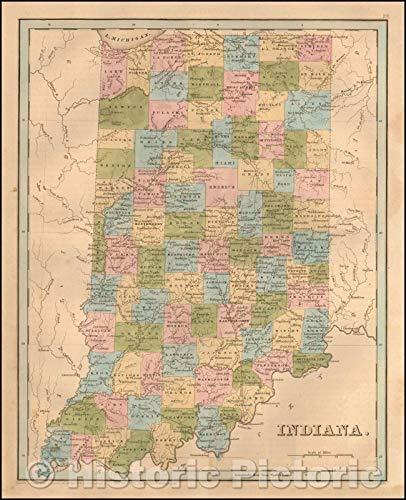 Historic Map | Indiana, 1841, Thomas Gamaliel Bradford | Vintage Wall Art 44in x ()