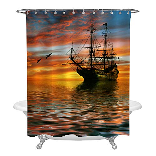 Pirate Ship Sailing in Ocean Shower Curtain with Sun Rising over the Horizon Following by Seagull in the Air, Popular Motif in Nautical Arts and Crafts for Bathroom Decor, 72 x 84 inches, Gold -