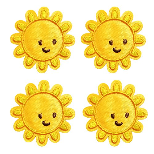 4 Pcs Cute Sun Delicate Embroidered Patches, Cute Embroidery Patches, Iron On Patches, Sew On Applique Patch,Cool Patches for ()