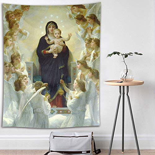 Tapestry Christian Wall Hangings - HVEST Christian Tapestry Virgin Mary and Jesus Christ in Paradise Wall Hanging Angels in Heaven Tapestries for Bedroom Living Room Dorm Wall Decor Party Backdrop,40Wx60H inches