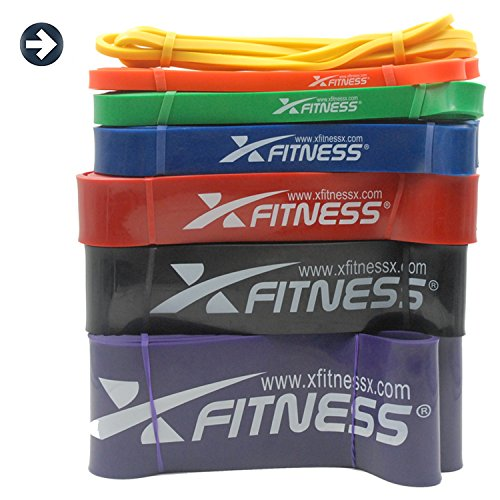 Cheap xFitness Pull Up Assist Band Stretch Resistance Band, Mobility Band, Powerlifting Bands | 7 Levels to Choose | Perfect for Chin Ups, Muscle Ups, Ring Dips | Single Band or Set Combo