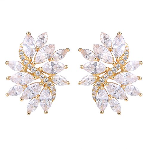 (EVER FAITH Women's Cubic Zirconia Gorgeous Bridal Floral Leaf Pierced Stud Earrings Clear Gold-Tone)