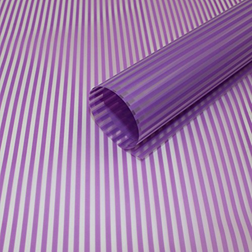 Striped Flower Packaging Paper Waterproof Flower Wrapping Paper Floral Bouquet Gift Packaging Supplies 20 Counts (Purple) (Bouquets Trendy)